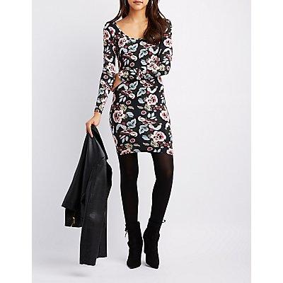 Floral Scoop Neck Bodycon Dress