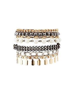 Embellished Textured & Faux Pearl Bracelet