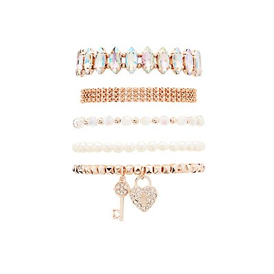 Embellished Layering Bracelets - 5 Pack