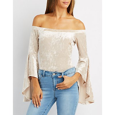 Velvet Bell Sleeve Off-The-Shoulder Bodysuit