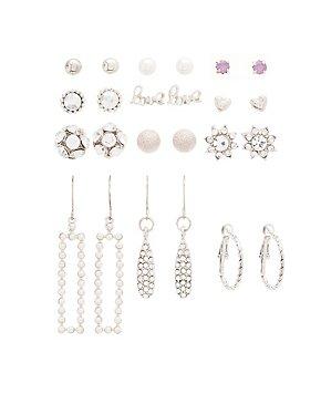 Embellished Stud, Hoop & Drop Earrings - 12 Pack