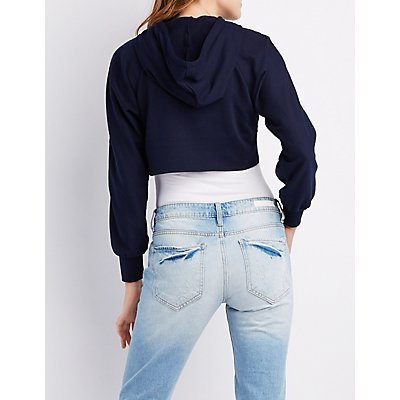 O-Ring Open Cropped Zip-Up Hoodie