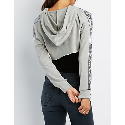 Velvet Stripe Open Cropped Hoodie