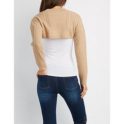 Open-Front Long Sleeve Shrug