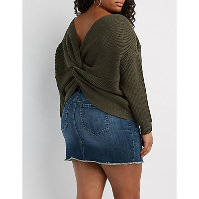 Plus Size Shaker Stitch Twist Back Sweater