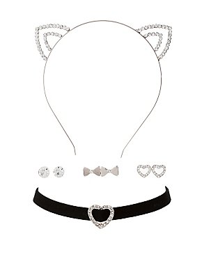 Cat Ear, Choker & Earring Set