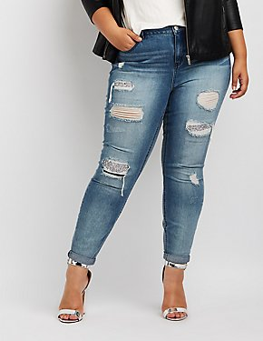 Plus Size Refuge Rhinestone Embellished Destroyed Skinny Jeans