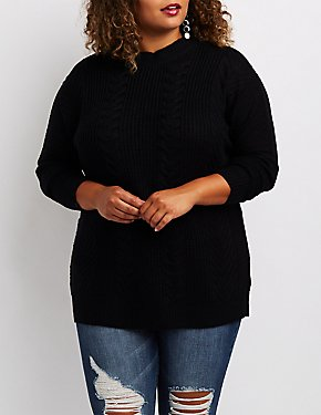 Plus Size Mixed Knit Lace-Up Back Sweater