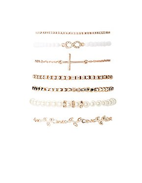 Beaded, Faux Pearl & Crystal Layering Bracelets - 7 Pack
