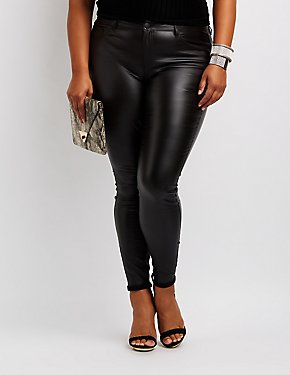 Plus Size Refuge Coated Skin Tight Legging Jeans