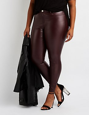 Plus Size Refuge Coated Skin Tight Leggings