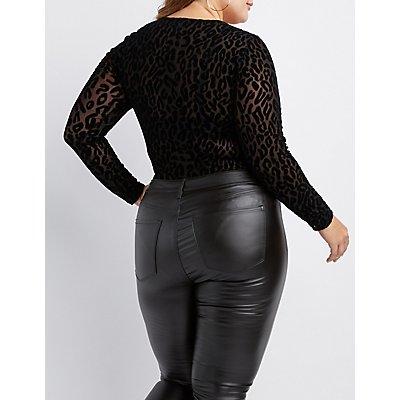 Plus Size Velvet Leopard Mesh Bodysuit