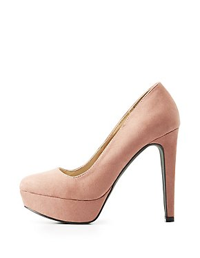Qupid Faux Suede Platform Pumps