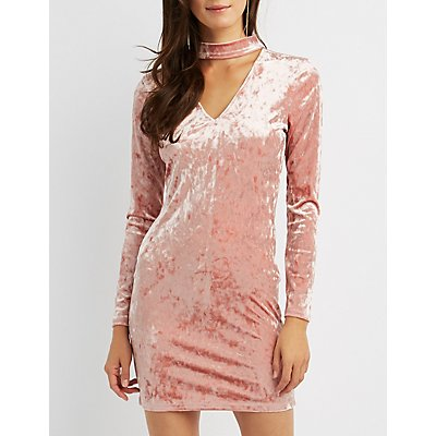 Velvet Choker Neck Bodycon Dress