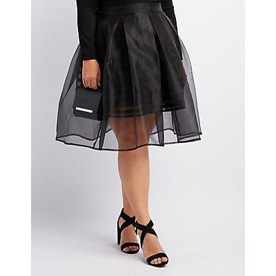Plus Size Shadow Stripe Tulle Skirt