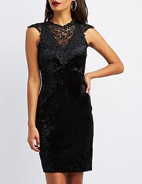 Lace-Trim Velvet Bodycon Dress