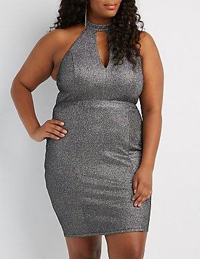 Plus Size Shimmer Knit Keyhole Bodycon Dress