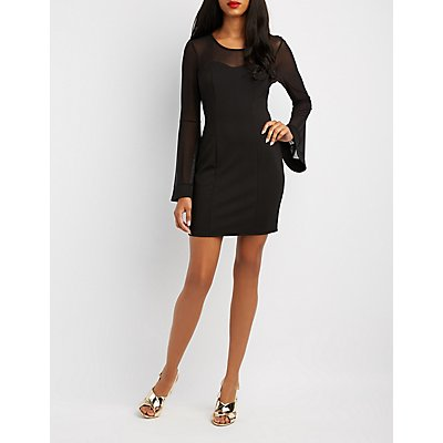 Mesh-Trim Bell Sleeve Bodycon Dress