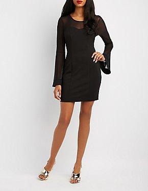 Mesh-Trim Bell Sleeve Bodycon Dress