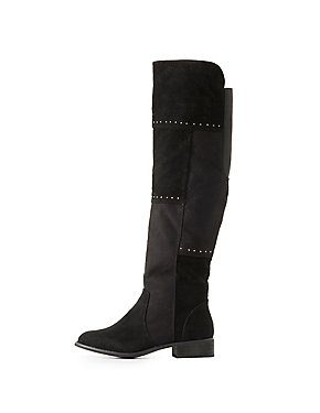 Faux Suede Studded Knee-High Boots
