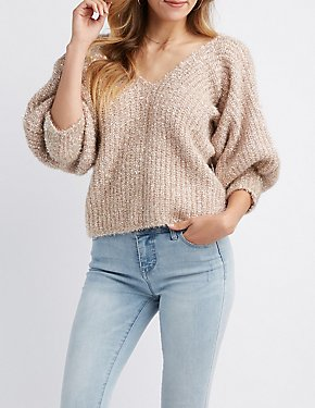 Lurex Cropped Pullover Sweater