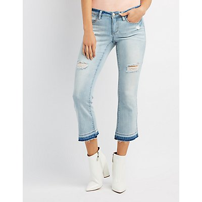 Destroyed Released Hem Flare Jeans