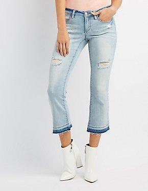 Destroyed Released Hem Flare Jeans