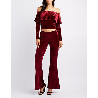 Crushed Velvet Ruffle Off-The-Shoulder Crop Top