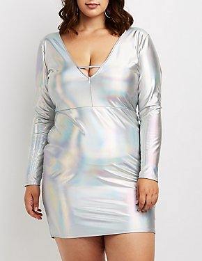 Plus Size Holographic Caged V-Neck Dress