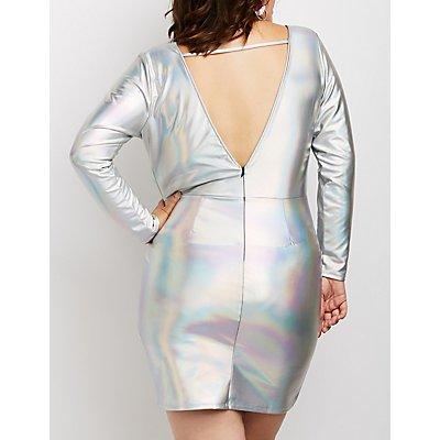 Plus Size Holographic Caged V-Neck Dress