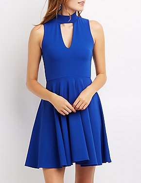 Mock Neck Keyhole Skater Dress