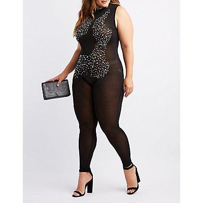 Plus Size Mesh Jeweled Jumpsuit