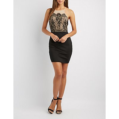 Lace Bodice Bodycon Dress