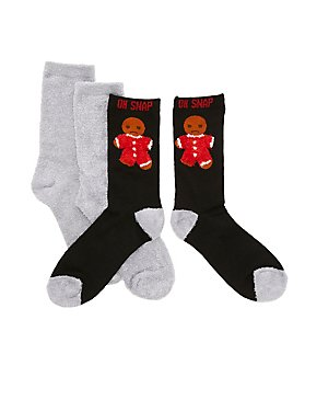 Oh Snap Holiday Socks - 2 Pack
