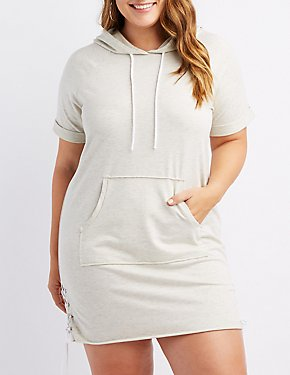 Plus Size Space-Dye Lace-Up Detail Hooded Sweatshirt Dress