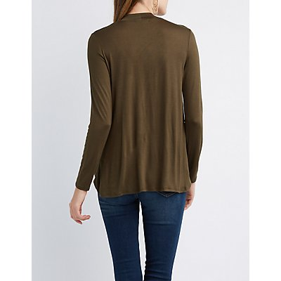 Surplice Keyhole Mock Neck Top