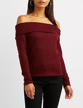 Hacci Knit Off-The-Shoulder Top