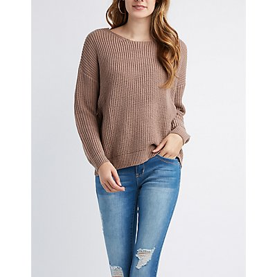 Shaker Stitch Knot Pullover Sweater