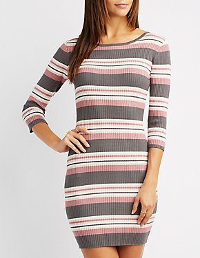 Ribbed Knit Striped Bodycon Dress