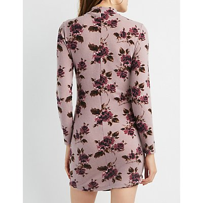 Floral Hacci Bodycon Sweater Dress