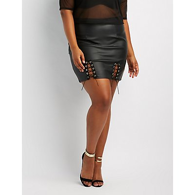 Plus Size Lace-Up Detail Faux Leather Skirt