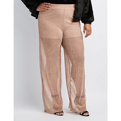 Plus Size Shadow Metallic Stripe Palazzo Pants