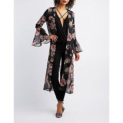 Floral & Metallic Striped Print Bell Sleeve Kimono