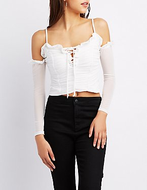 Ruched Lace-Up Cold Shoulder Top