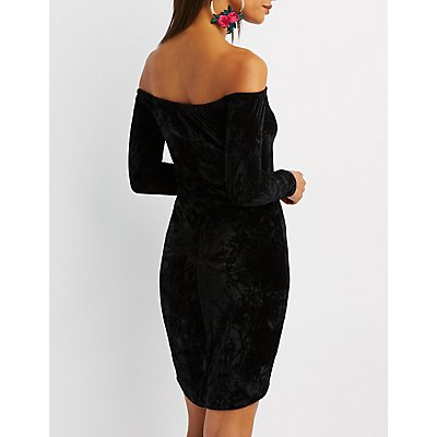 Velvet Off-The-Shoulder Bodycon Dress