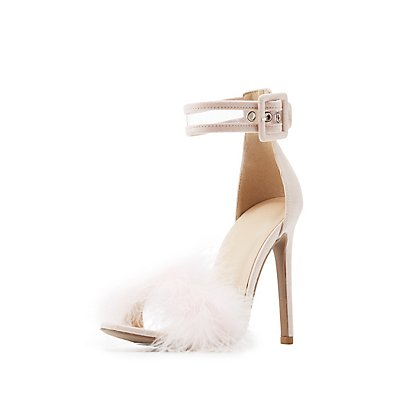 Feather-Trim Ankle Strap Sandals