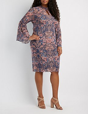 Plus Size Printed Mesh Flutter Sleeve Midi Dress