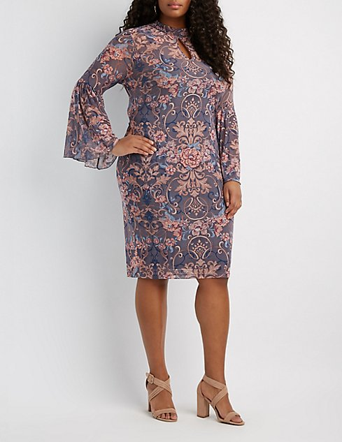 Plus Size Printed Mesh Flutter Sleeve Midi Dress | Charlotte Russe