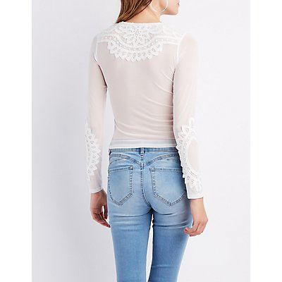 Crochet & Mesh Skimmer Top