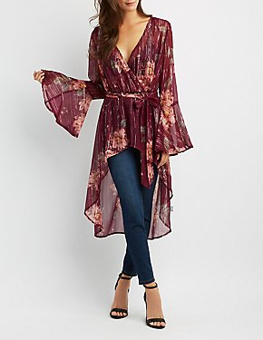 Floral Surplice High-Low Tunic Top